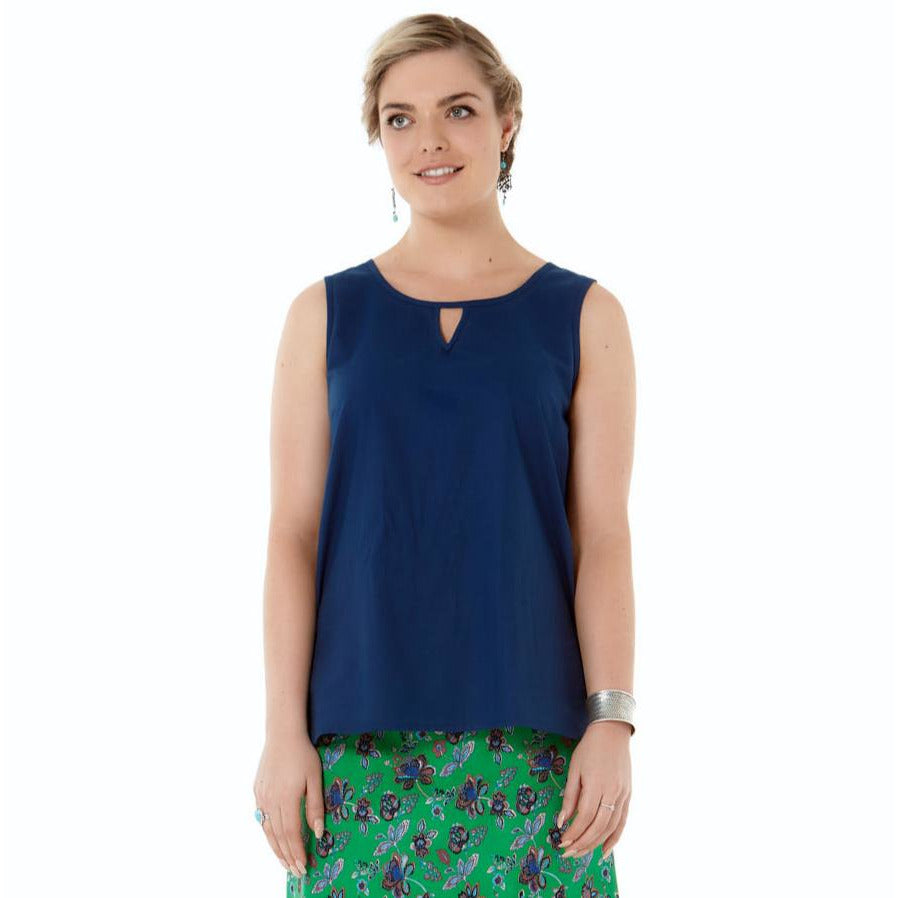 Rasaleela Marti Cotton Top with Keyhole front in Navy.