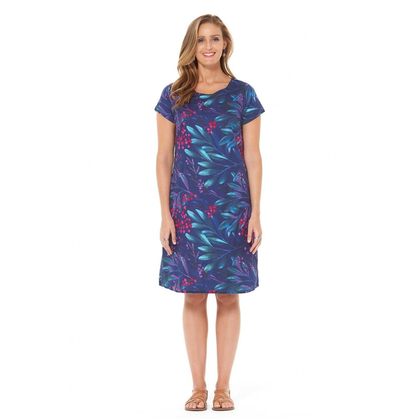 Rasaleela Amber Cotton Reversible Dress in Berry and Sky Print