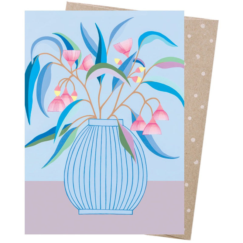 Earth Greetings Card Blue Gum Vase