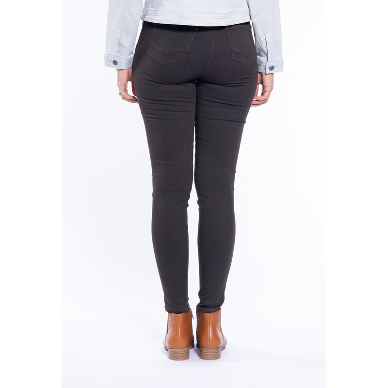 Cafe Latte Washed Black Denim Stretch Jeggings