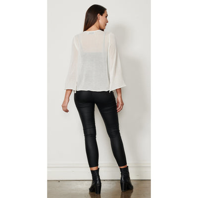 Caju Drawstring Front Top in White