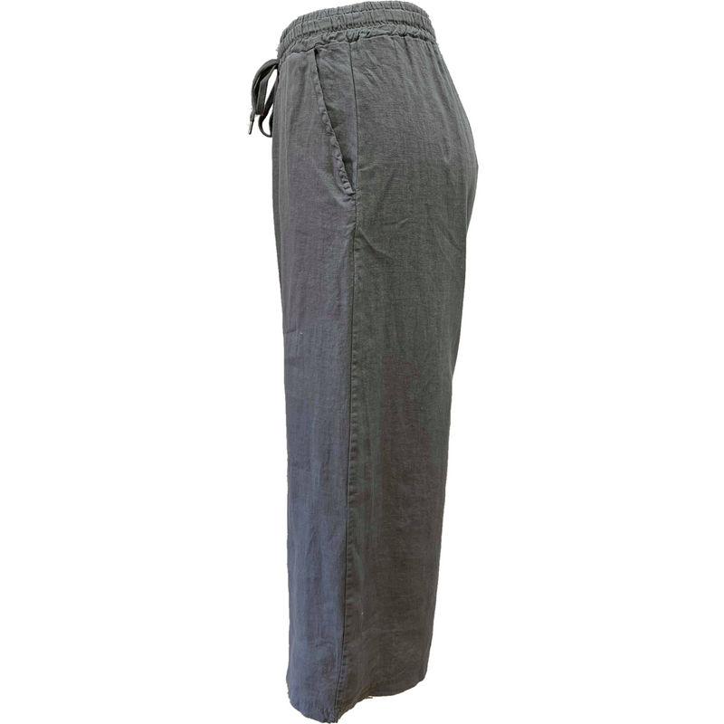 Talia Benson 100% Linen Plain coloured soft wide leg pant in Steel Grey