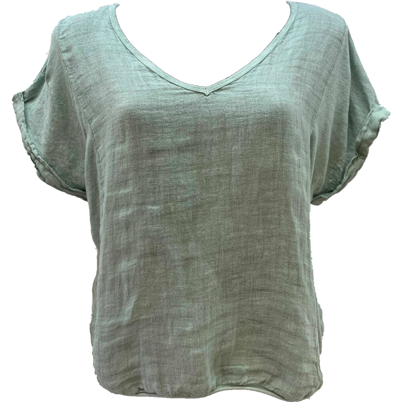 Talia Benson Linen V neck top in Sage