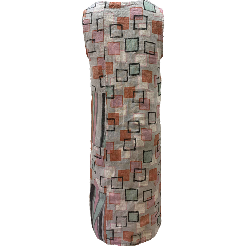 Talia Benson 100% Linen Shift Dress in Silver Tile Print