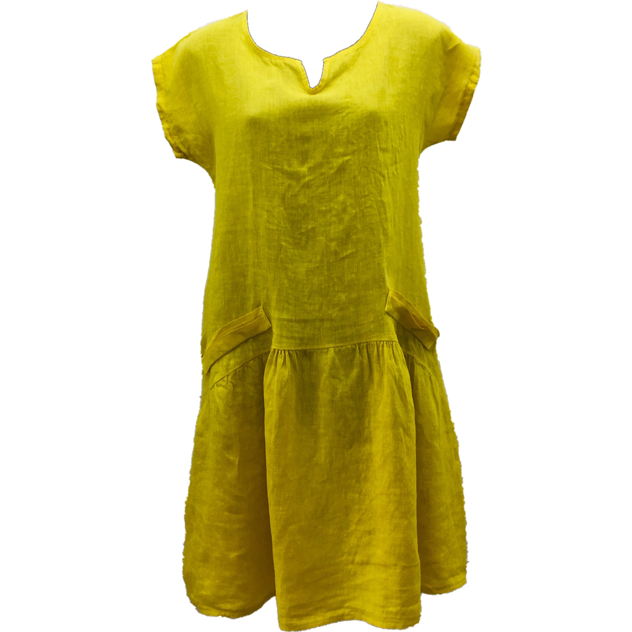 Talia Benson 100% Linen Dress in Yellow