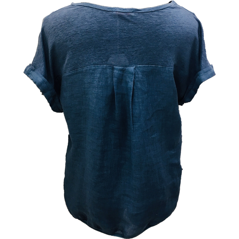 Talia Benson Linen V neck top in Navy