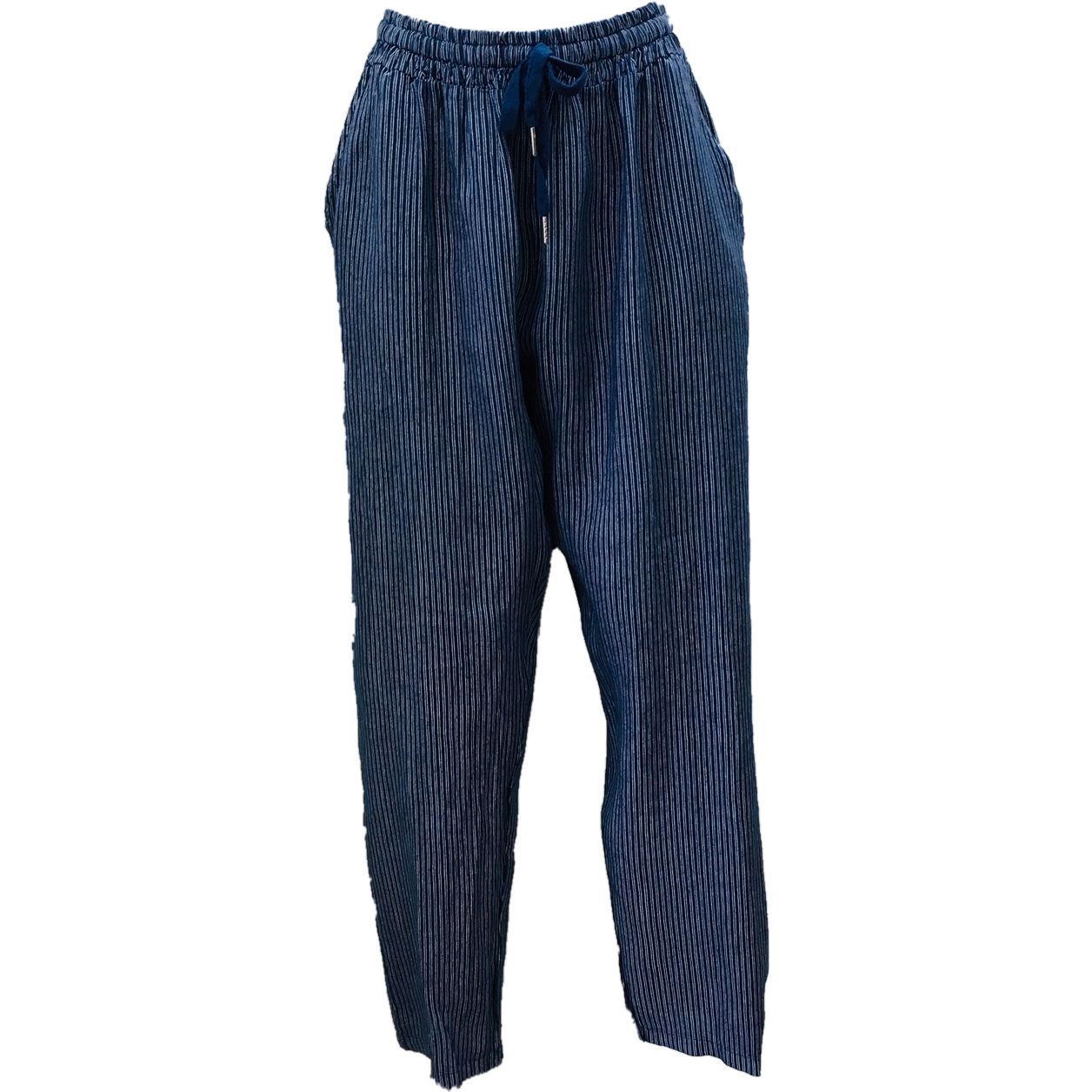 Talia Benson 100% Linen Thin Striped linen pant in Indigo