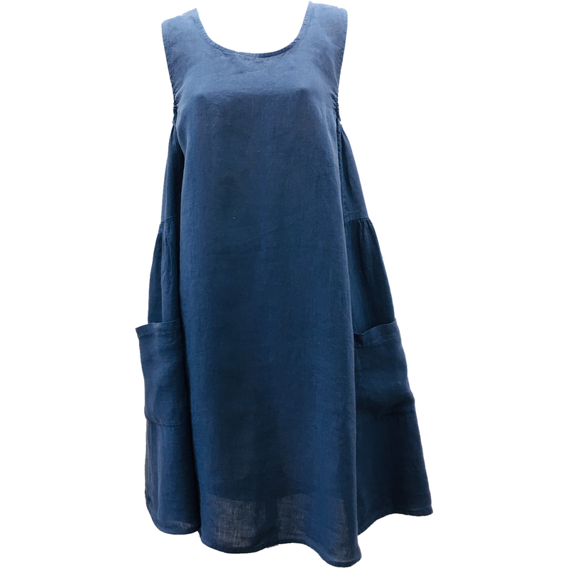 Talia Benson 100% Linen Sleeveless Dress in Navy