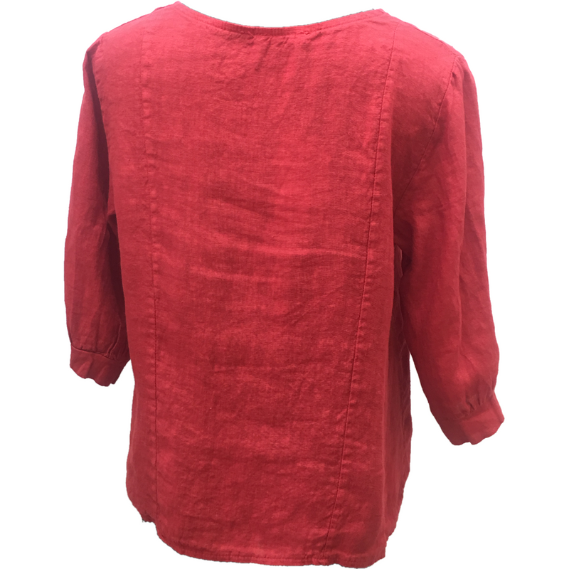 Talia Benson 100% Linen Jacket  in Red