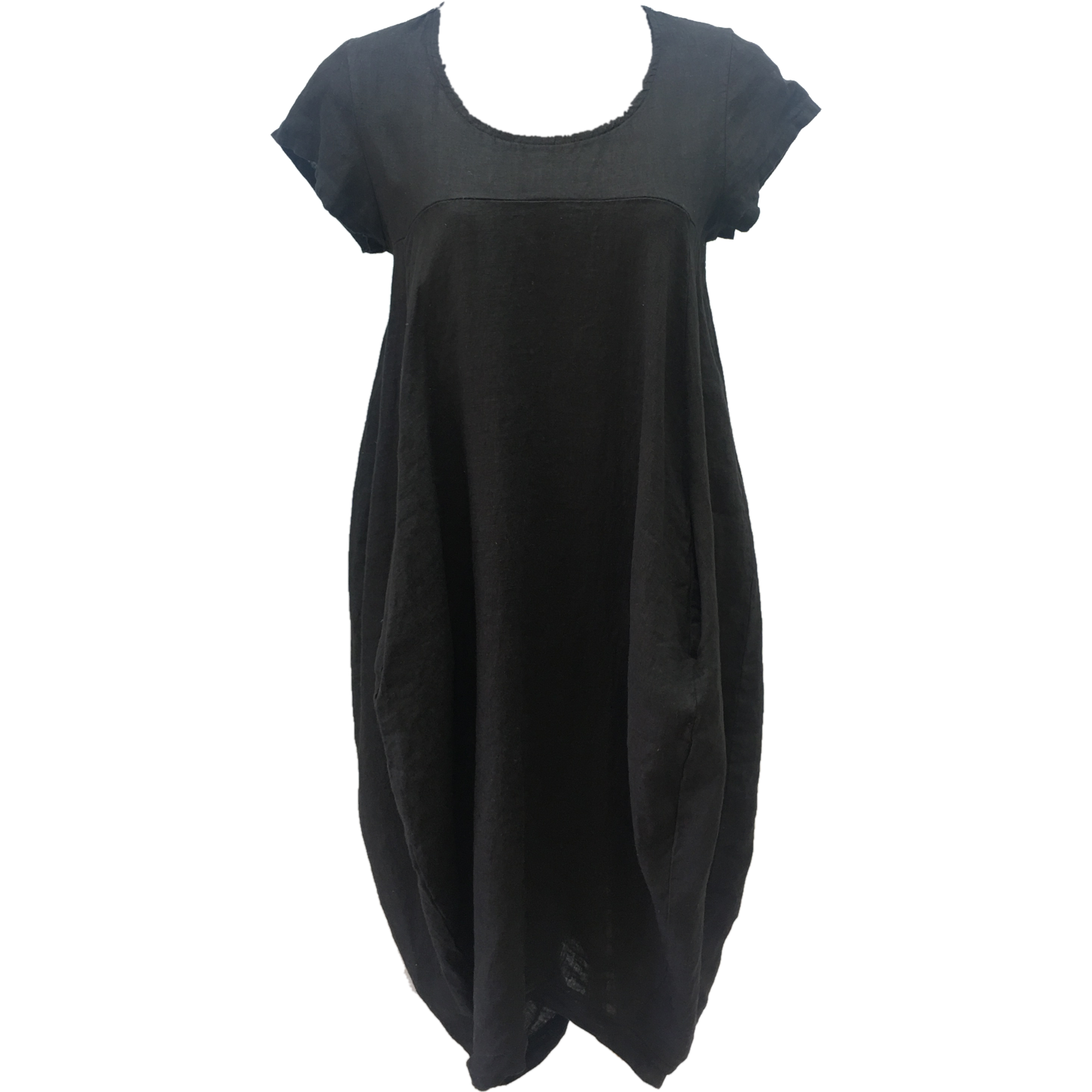 Talia Benson 100% Linen Short sleeved Dress in Black