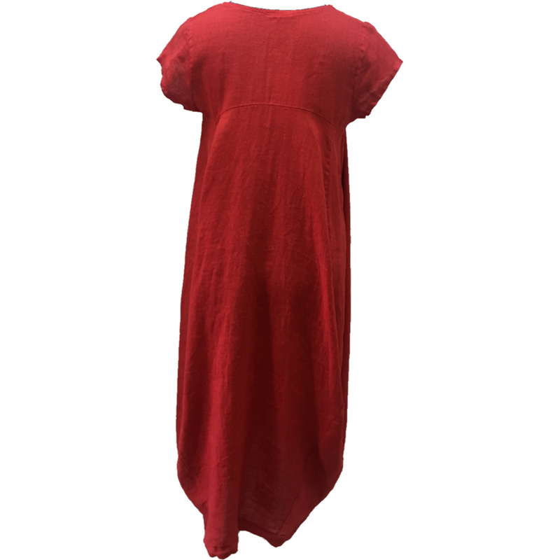 Talia Benson 100% Linen Short sleeved Dress in Red