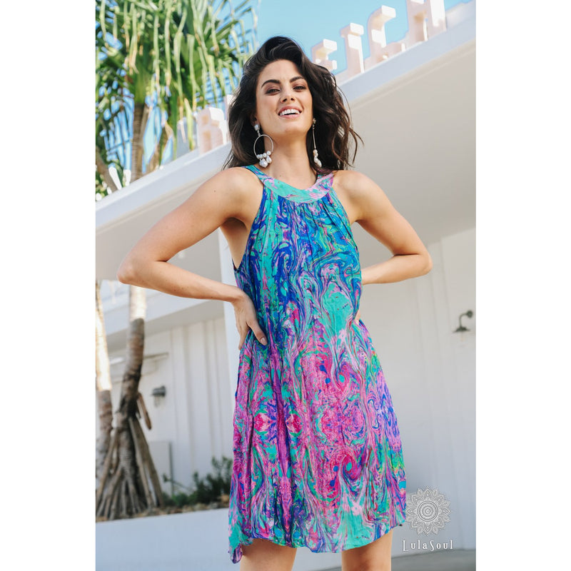 Lula Soul Celeste Halter Dress in Sea