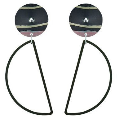 Moe Moe Design Community Miiimi and Jiinda Hanging Moon Stud Earrings