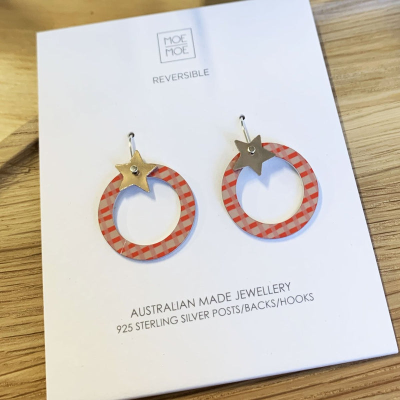 Moe Moe Design Coral Abstract Grid Star Outline Circle Drop Earrings