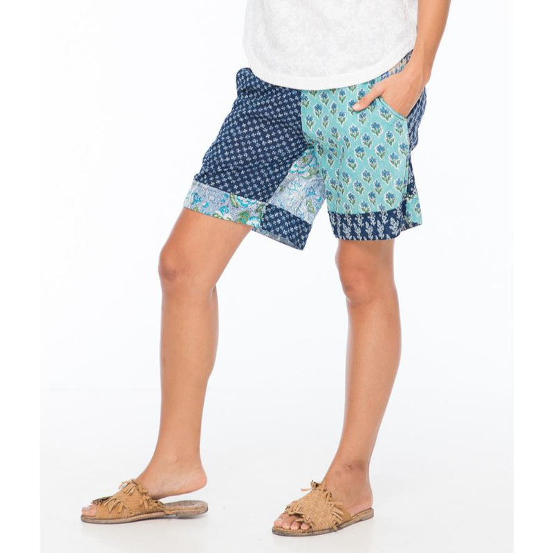 Boom Shankar Tone Patch Shorts in Bluebell Mixed Block Print