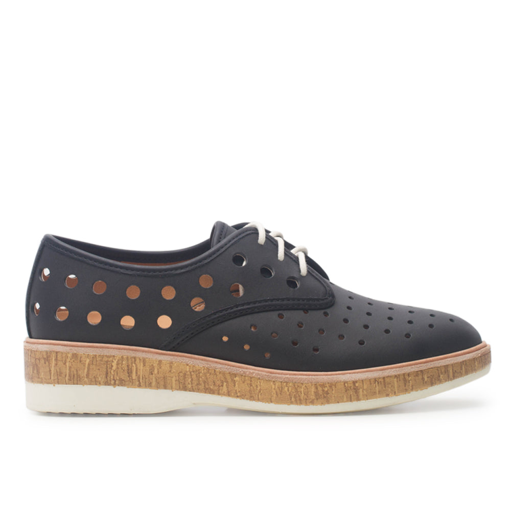 Rollie Derby Midsole Cork Circle Punch Black Shoes