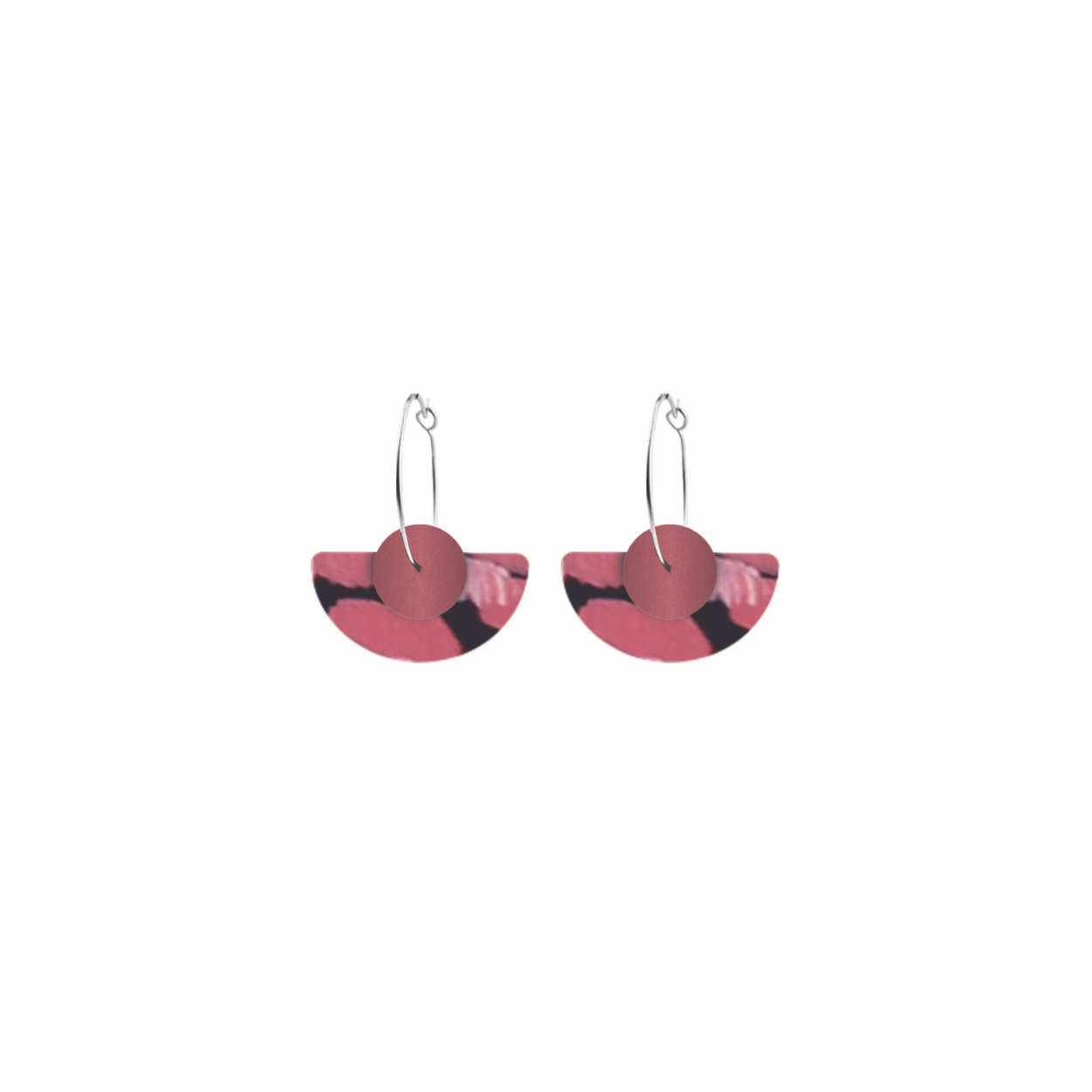 Moe Moe Design Dreaming Miiimi and Jiinda Layered Medium Moon Hoop Earrings