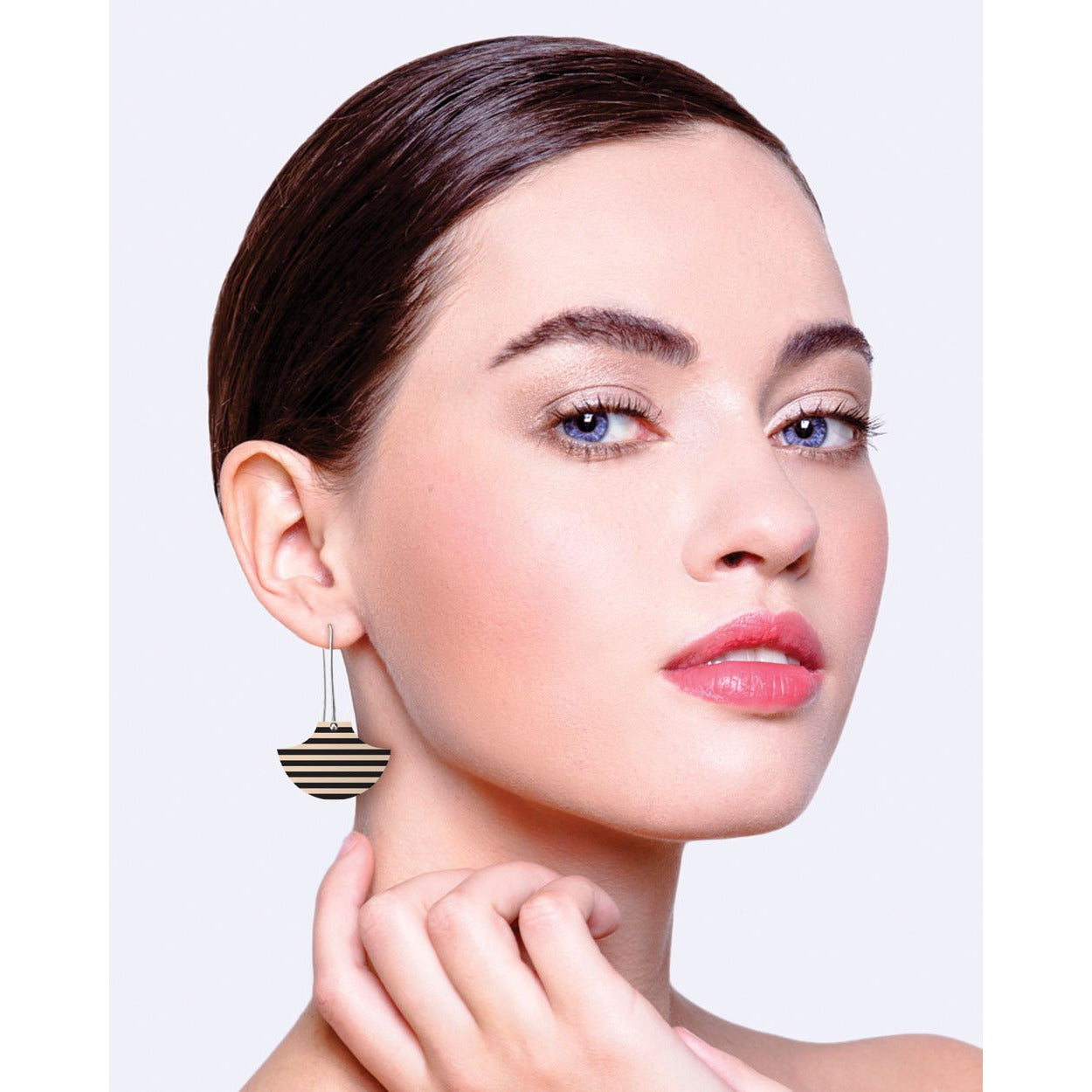 Moe Moe Design Ebony Striped Gingham Pagoda Long Drop Earrings