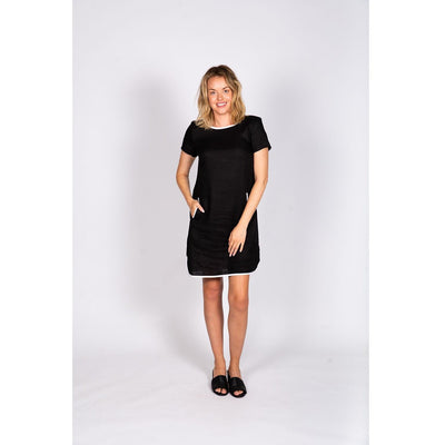 Naturals by O & J Linen Shift Dress in Black