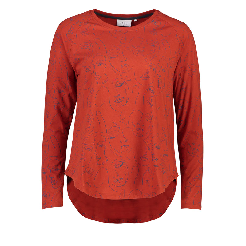 Foil Eat Your Art Out Top in Face Orange