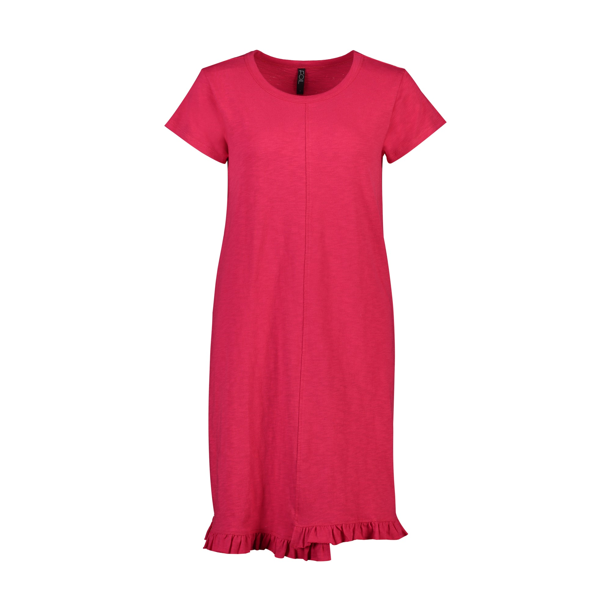 Foil Frill of it All T-shirt Dress in Rasberry