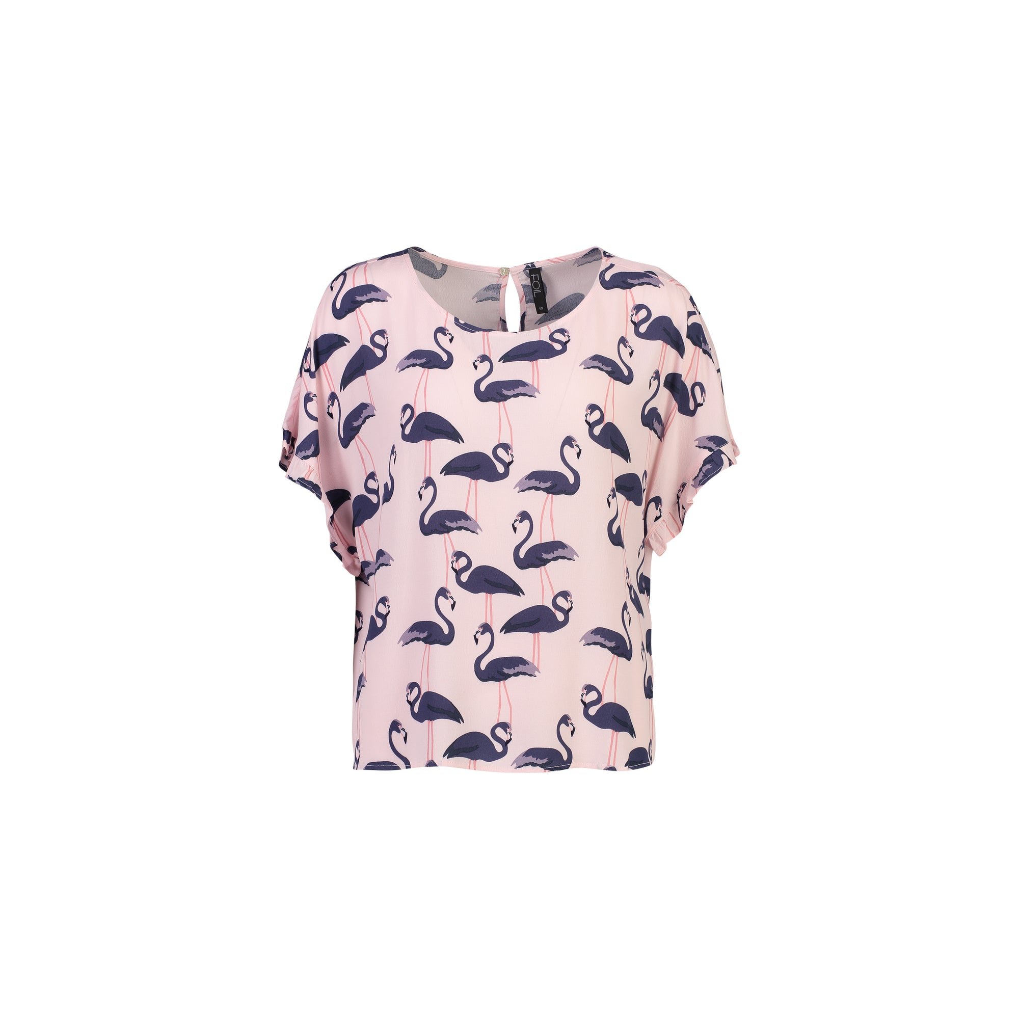 Foil Pretty Easy Frill Top in Pink Flamingo