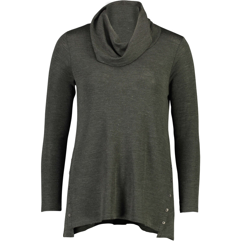 Foil Merino P Resolved Swing Cowl Neck Top in Moss