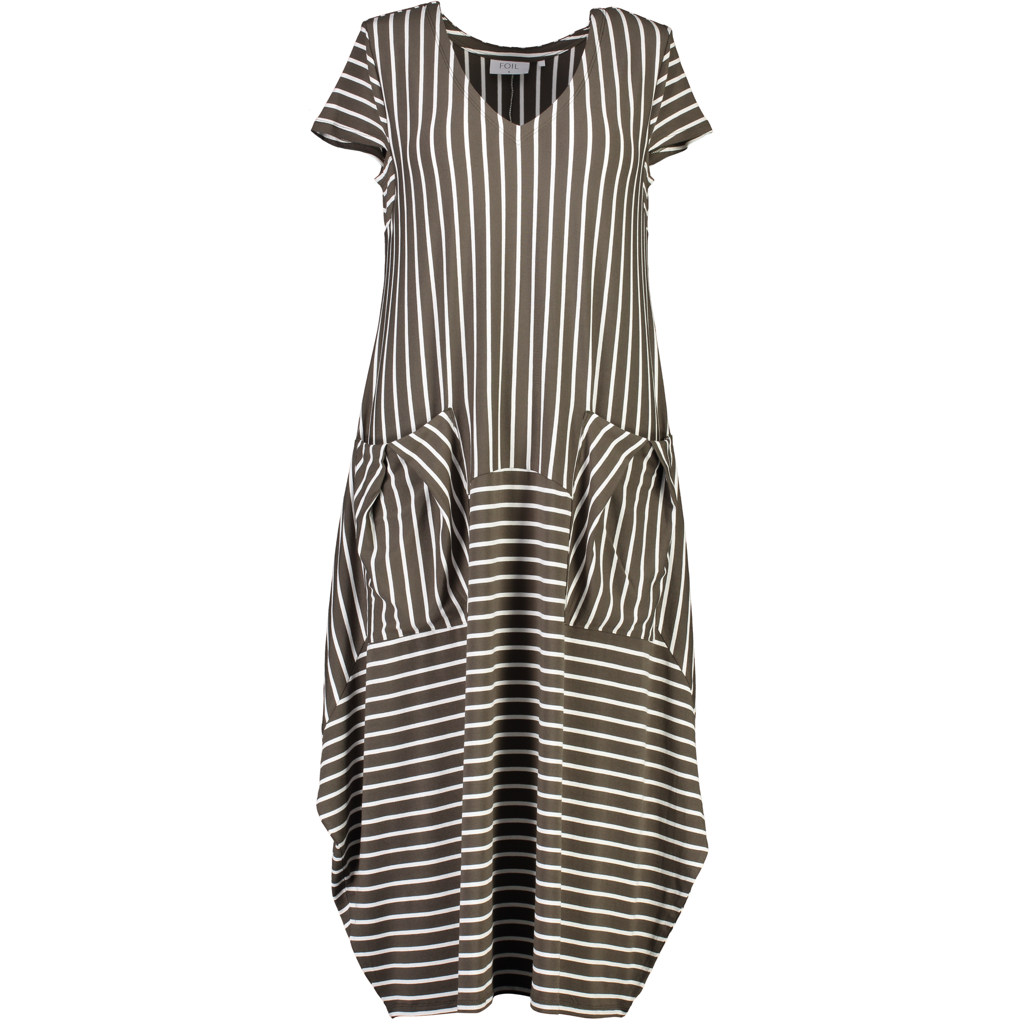 Foil Soft Update Pocket Dress in Olive stripe