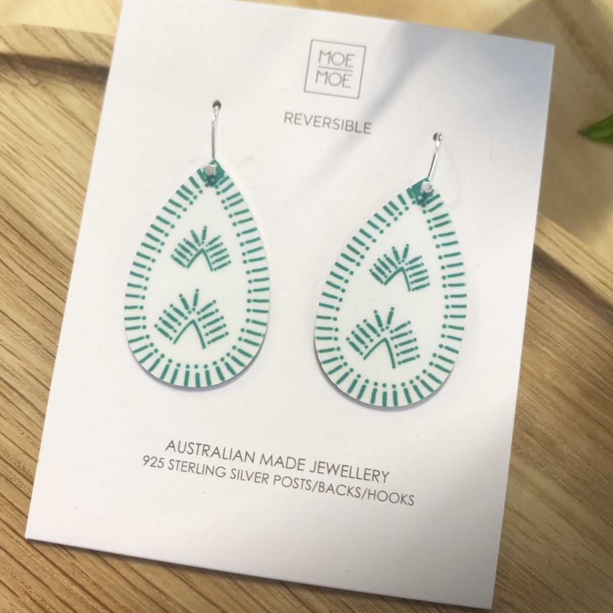 Moe Moe Design Festive Green Medium Tear Drop Earrings