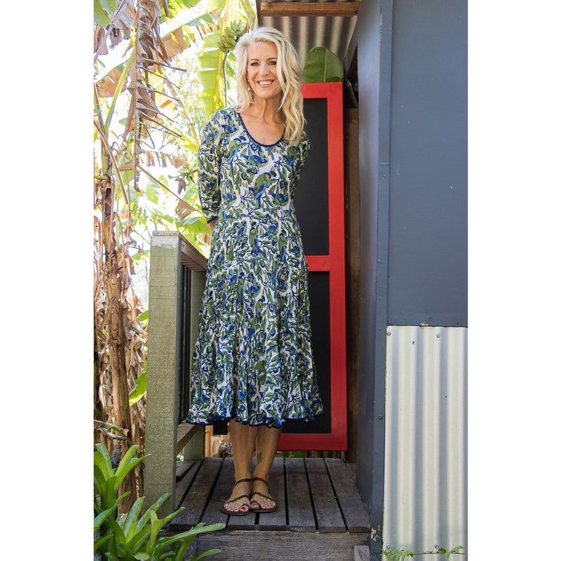 Soulsong Flamenco Dress with Sleeves in Lorikeets print