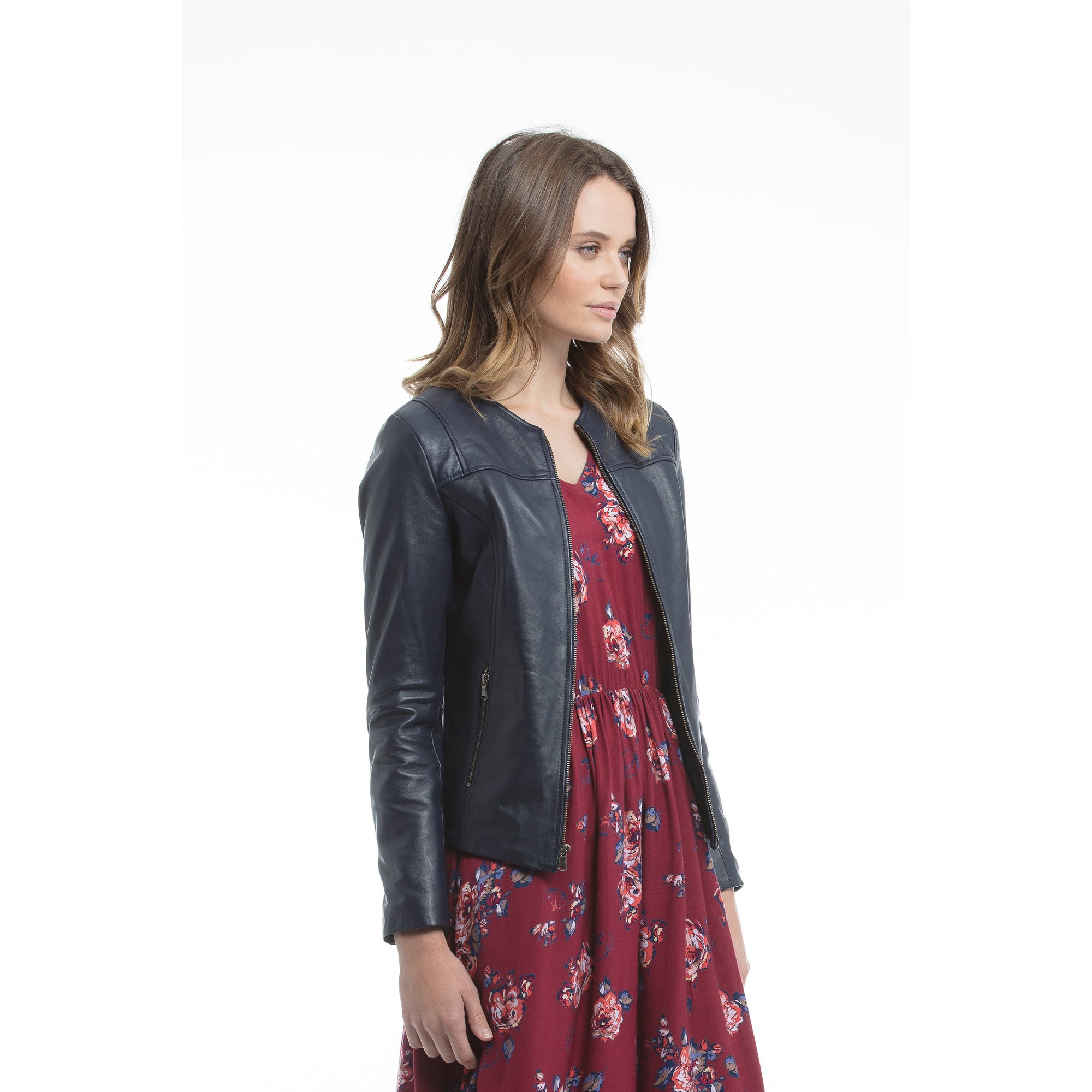 Kaja Gia Leather Jacket in Navy