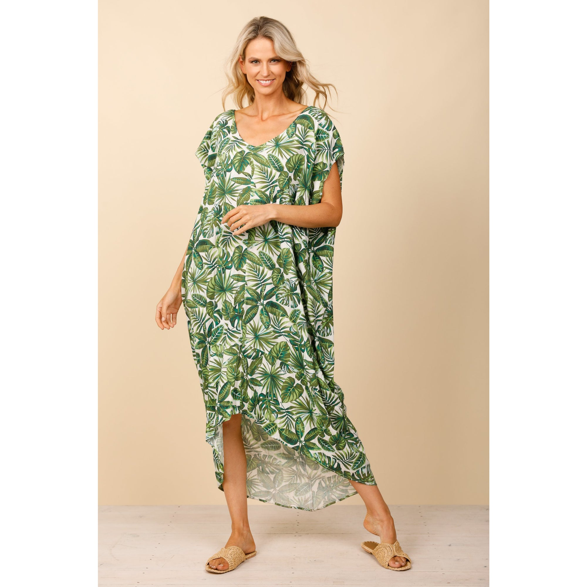 Holiday Daintree Kaftan in Palm Print