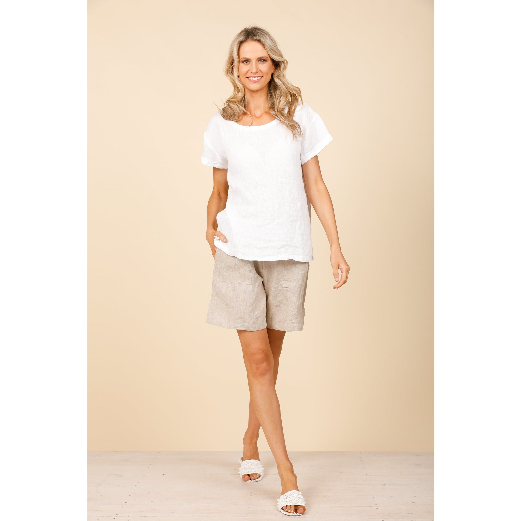 Holiday Captain Top in White Linen