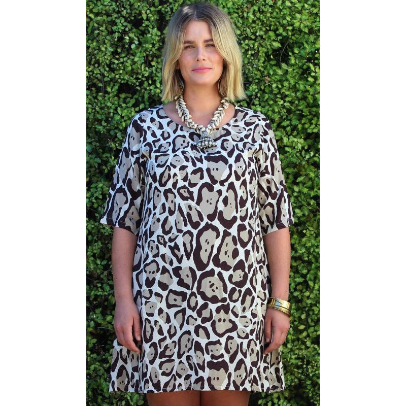 6a8c4b6f58 Honeysuckle Beach Zebra Dress in Purr Choc