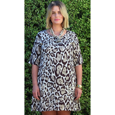 Honeysuckle Beach Zebra Dress in Purr Choc