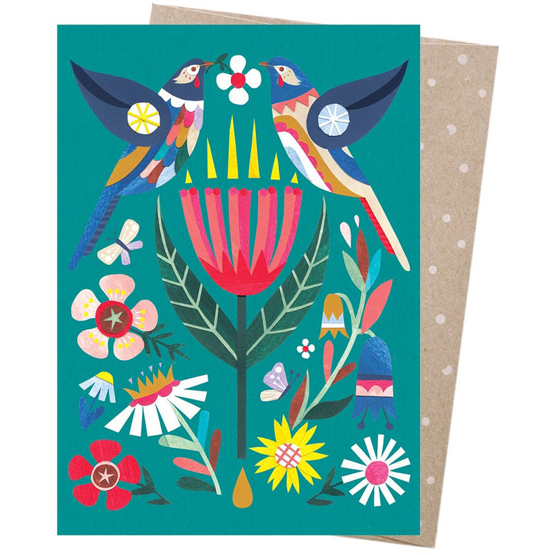 Earth Greetings Card Wattlebird and Wildflowers