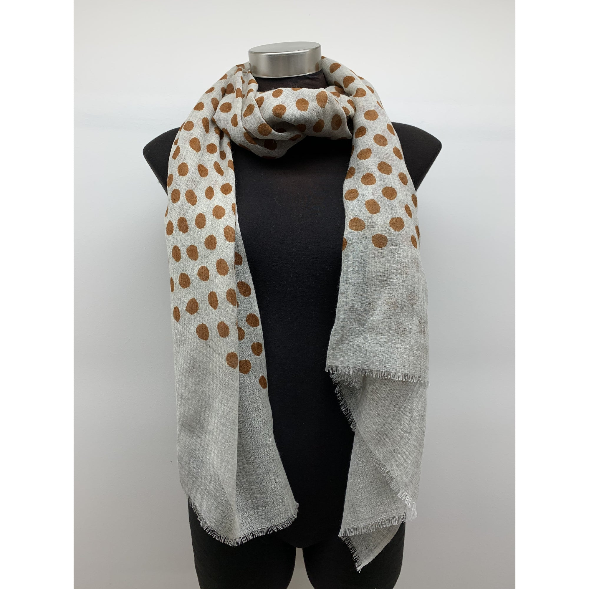 See Saw Wool/Silk spot scarf in Ginger spot
