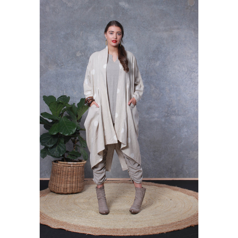 Honeysuckle Beach Paris Kimono Jacket in Linen spot