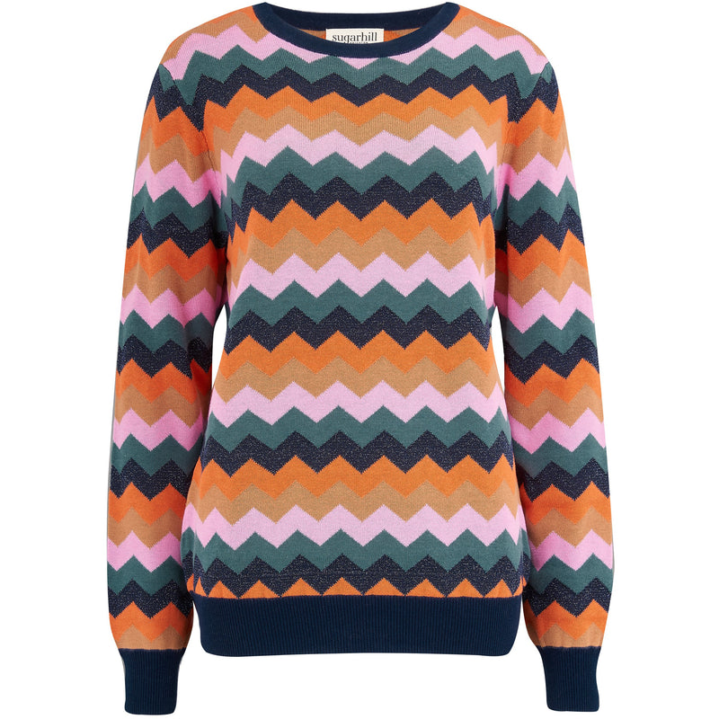 Sugarhill Brighton Rita Polaroid Zig Zag Sweater in Multi
