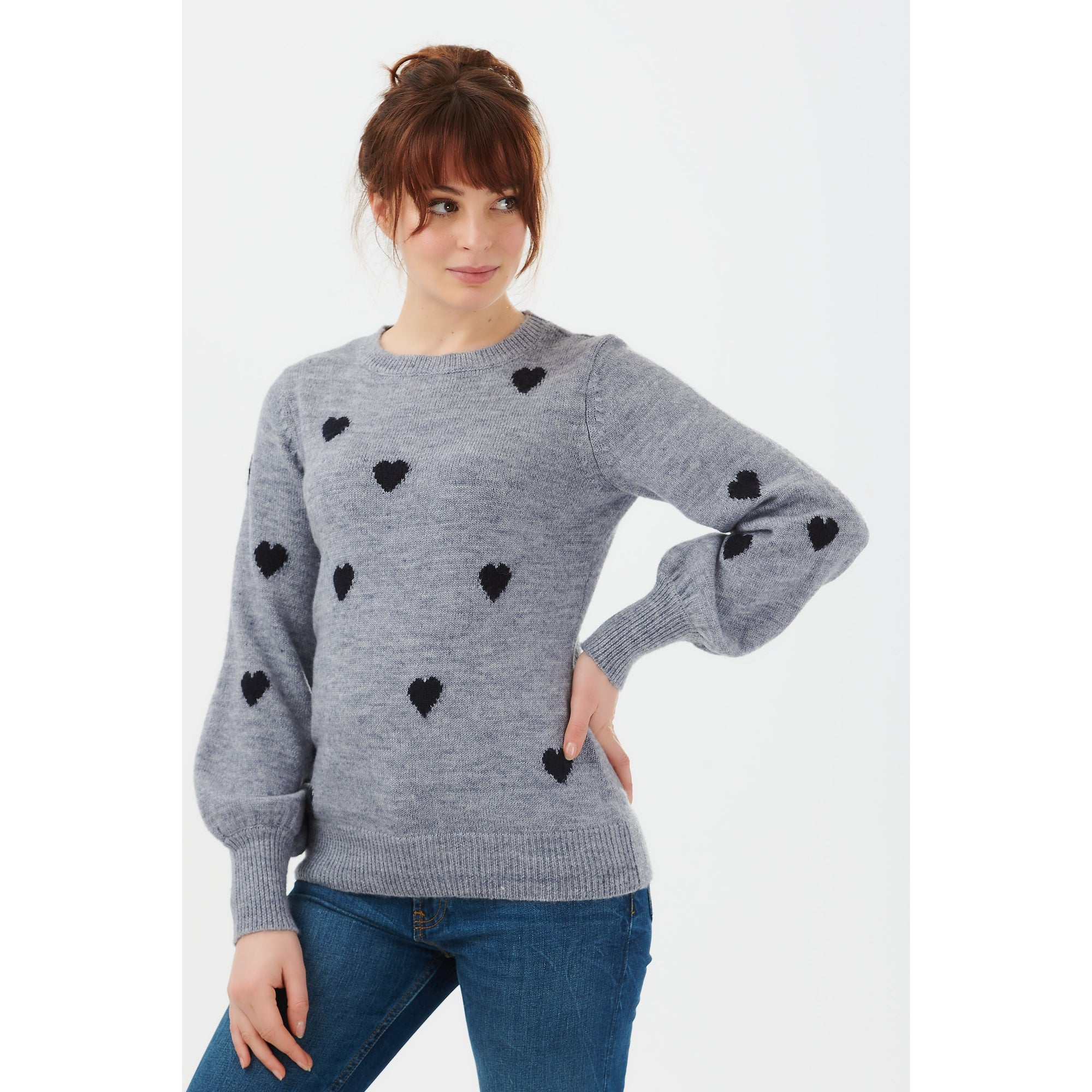 Sugarhill Brighton Mandy Love Heart Sweater in Blue/Navy
