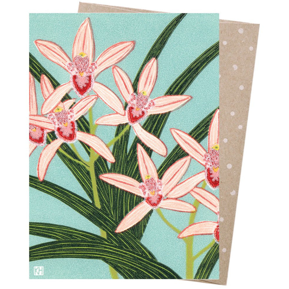 Earth Greetings Card Pink Orchids
