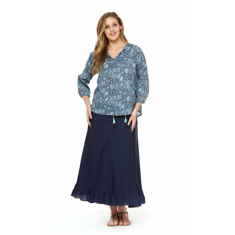 Rasaleela Opera Top in Blue Print