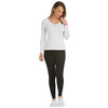Tani V neck Long sleeve fitted Tee Top in Plain Colours