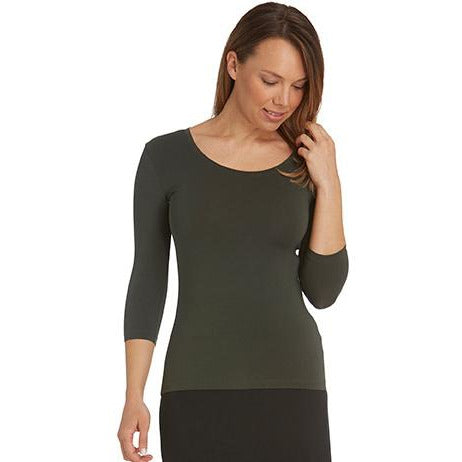 Tani Scoop neck Fitted Tee Top with 3/4 sleeves