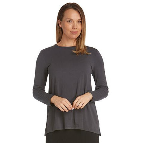 Tani High round neckline with long sleeve Swing Top in plain colours.