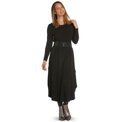 Tani Long Sleeve Tri Dress in Black