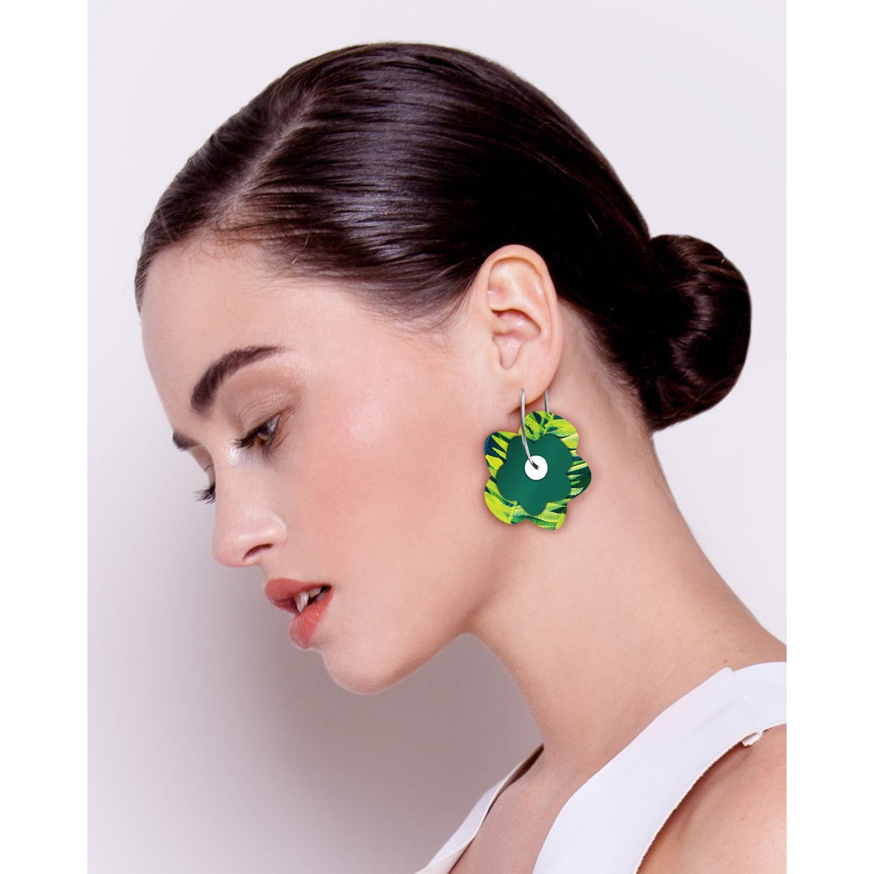 Moe Moe Design Earth Joan Blond Layered Big Flower hoop Earrings