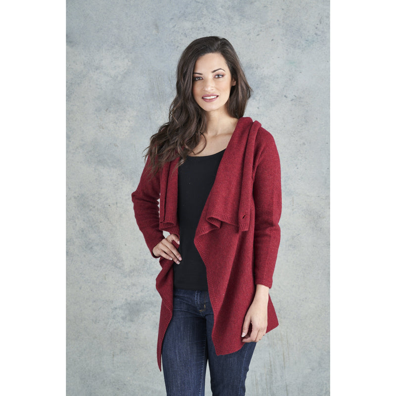 Merino Essentials Drape Wrap Cardigan in Deep Red