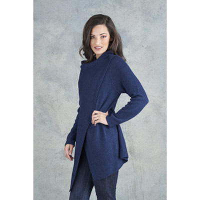 Merino Essentials Drape Wrap Cardigan in Navy