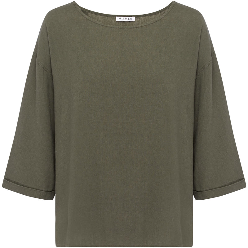 M.I.L.S.O.N Layla Linen Top in Khaki